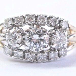 Fine Round Cut Diamond 3-Row Yellow Gold Engagemen
